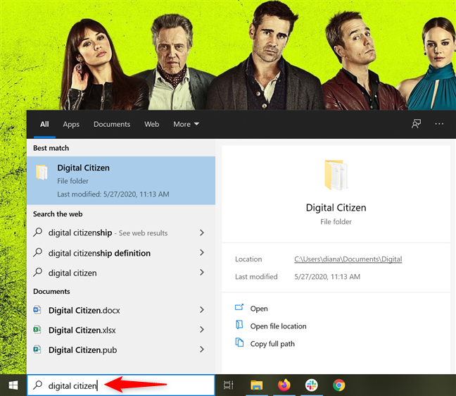 Insert your keywords in the Windows 10 Search bar