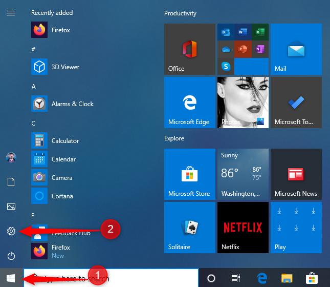 The Settings shortcut on the Windows 10 Start Menu