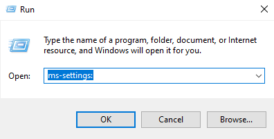 Open Settings using the Run window