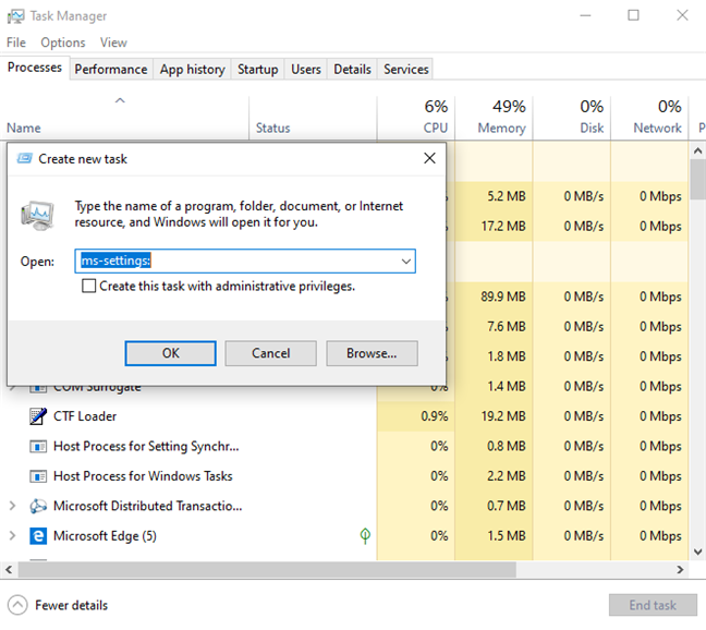 Start Windows 10 Settings in Task Manager