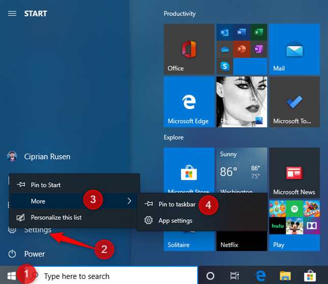 Pin Windows 10 Settings to Start or the taskbar