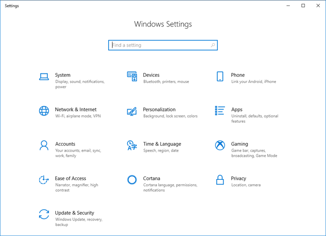 Settings app in Windows 10