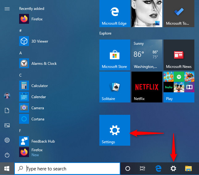 The Windows 10 Settings shortcuts on Start and the taskbar