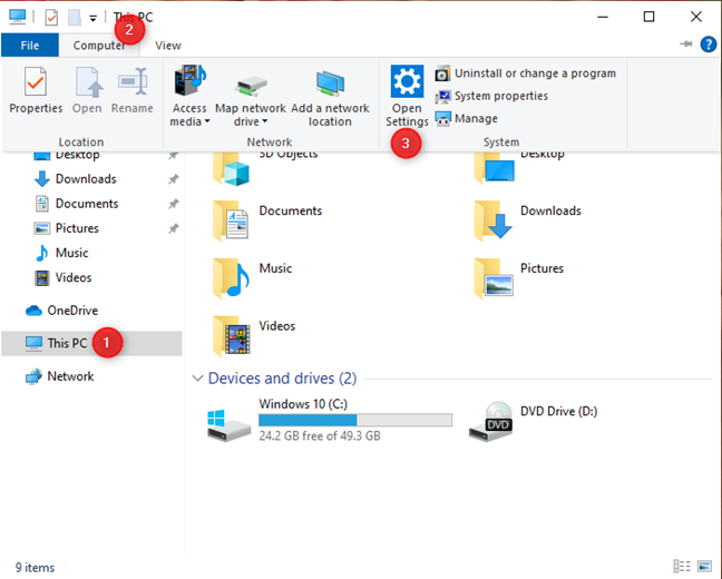 How to open Settings from File Explorer