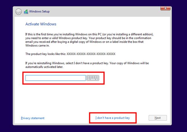 Entering the product key to activate Windows 10