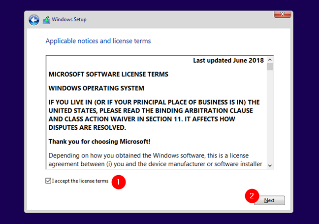 The license terms for Windows 10