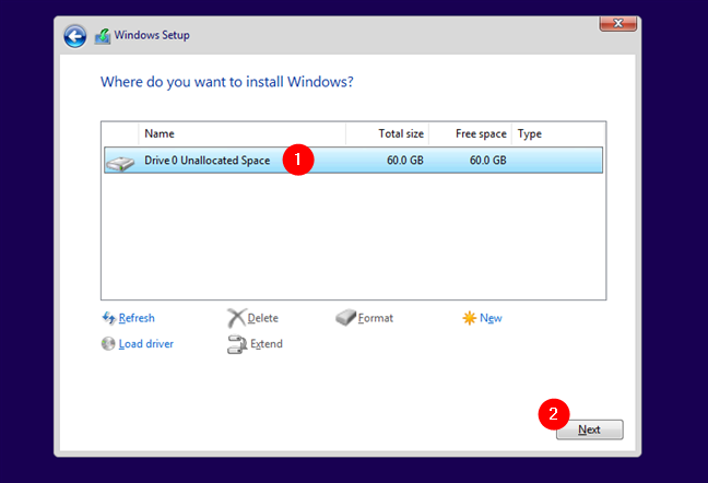 Selecting where to install Windows 10