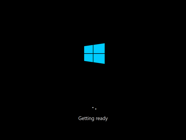 Windows 10 install process tells you that the operating system is Getting ready