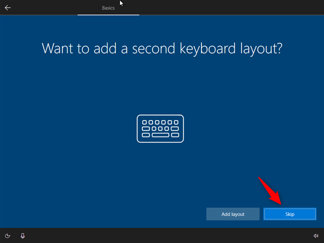 Choosing whether to add additional keyboard layouts or not