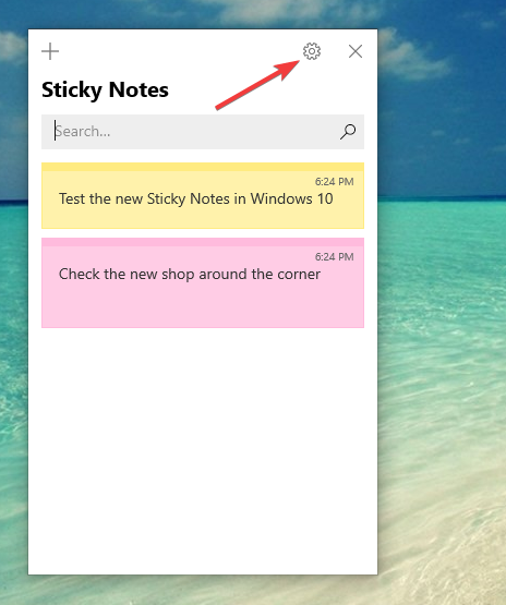The Sticky Notes Settings button