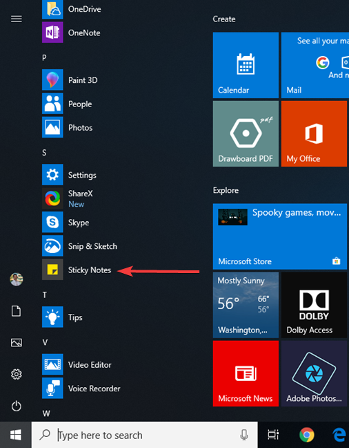 The Sticky Notes shortcut from the Start Menu