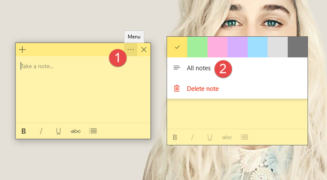Open All notes in Sticky Notes