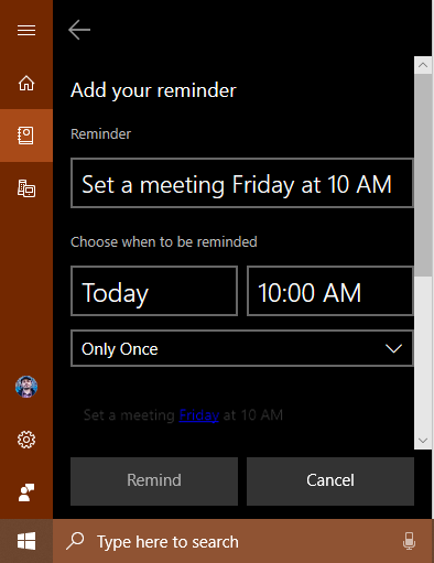Cortana reminder created in Sticky Notes