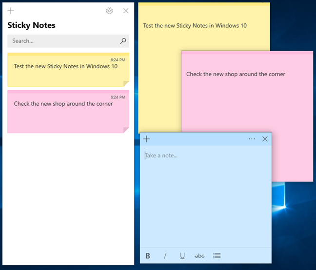 All notes window in Sticky Notes