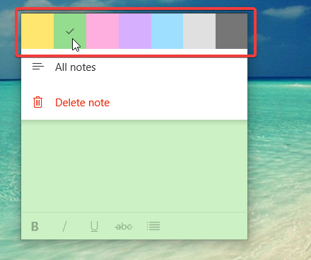 Changing the color of a note