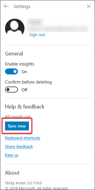 Sync now in Sticky Notes
