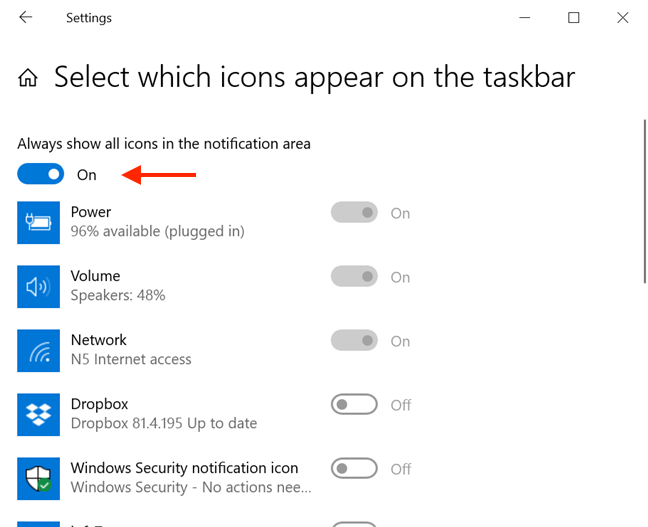 "Turn the ""master switch"" on to display all the icons in the Taskbar"