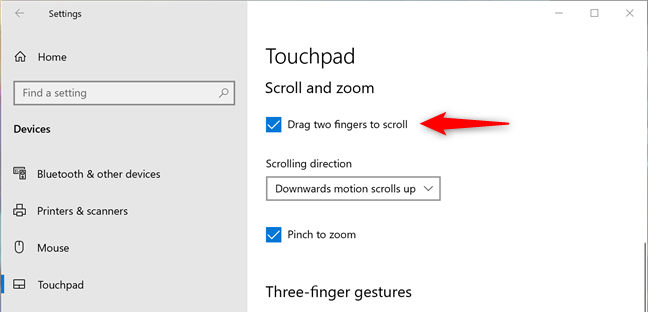 Set touchpad to scroll when you drag two fingers on it