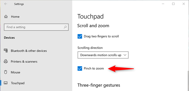 Set the touchpad to zoom when you pinch it