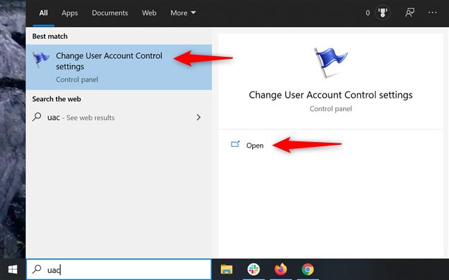 Open UAC settings
