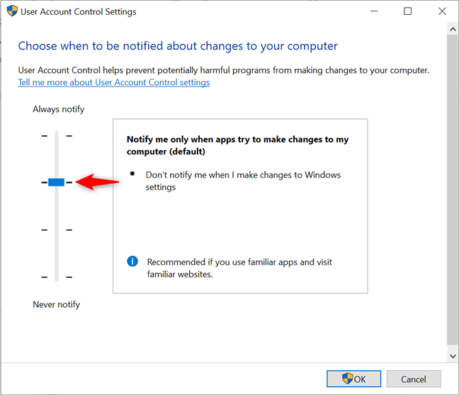 The slider is set to Notify me only when apps try to make changes to my computer
