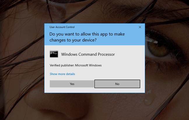The User Account Control window