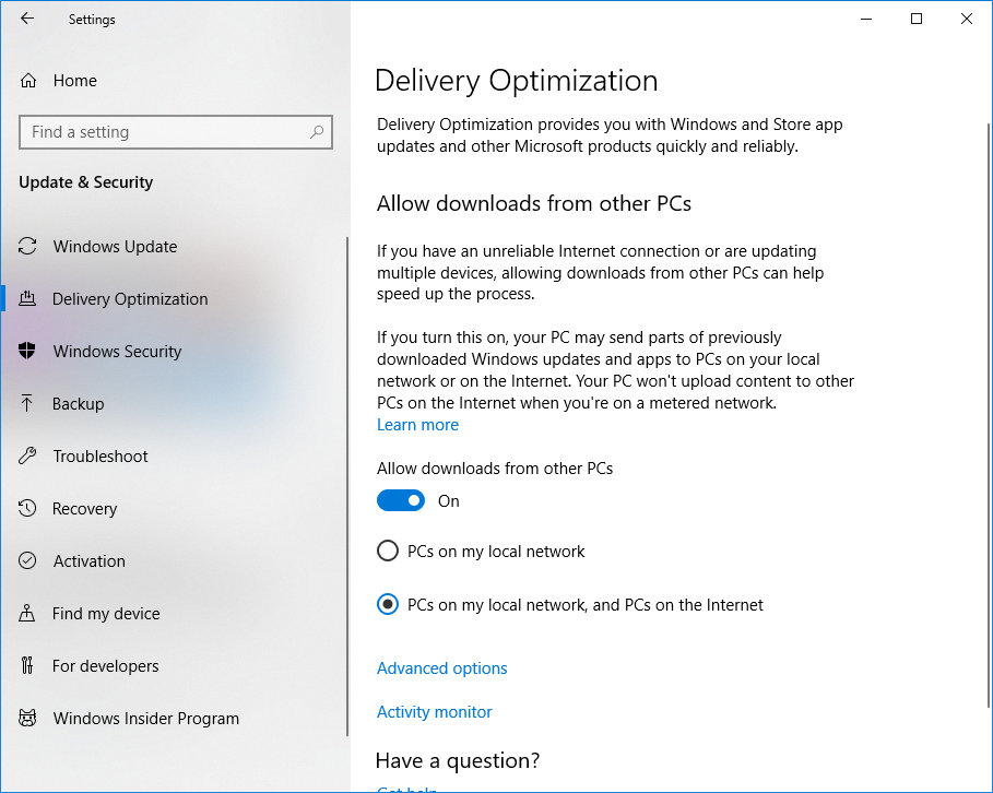 Set Windows 10 to download updates from other PCs