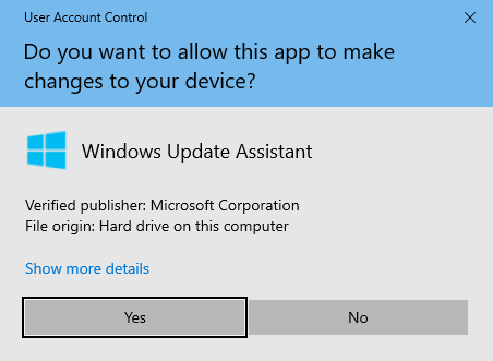 Press Yes to run the Windows 10 Update Assistant