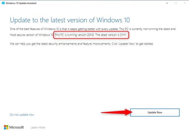 Windows 10 Update Assistant - Press Update Now