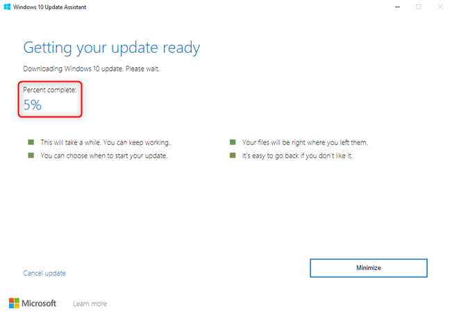 Windows 10 Update Assistant - Downloading the files for the update