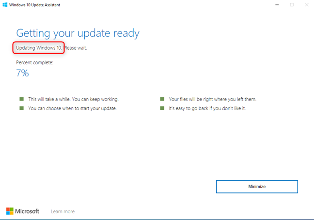 The Windows 10 Update Assistant is updating Windows 10