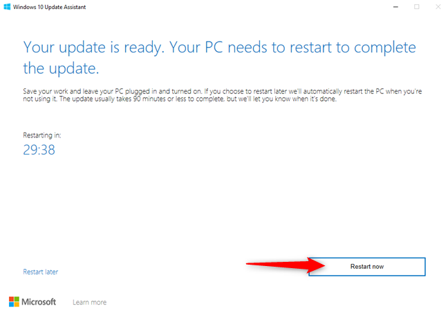 Press Restart Now to finalize the update