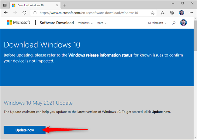Download the Windows 10 Update Assistant