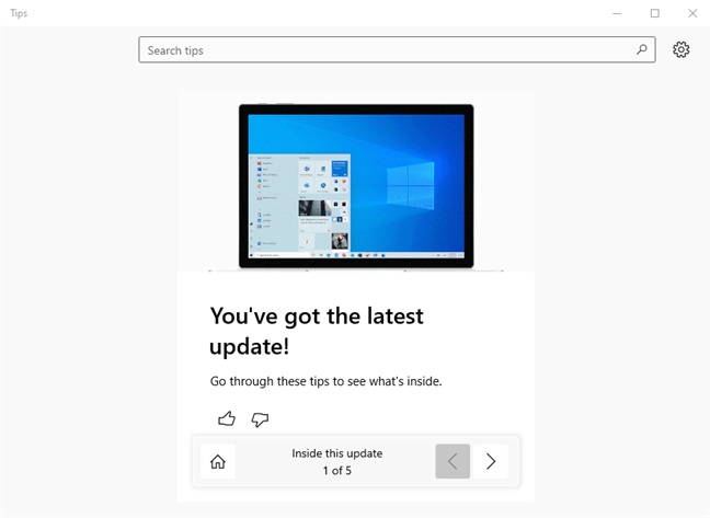 Tips shows you what's new in Windows 10 October 2020 Update