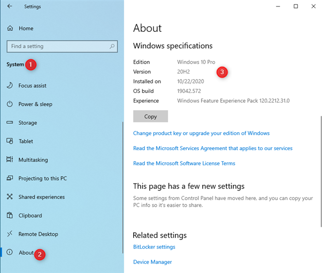 The version and build information of your Windows 10