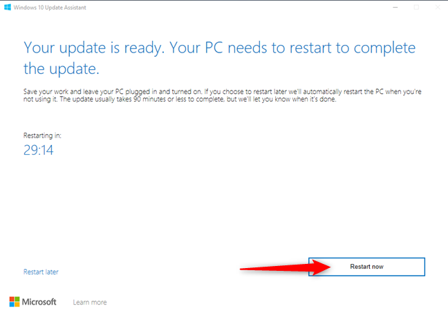 Restarting the PC to apply the Windows 10 October 2020 Update