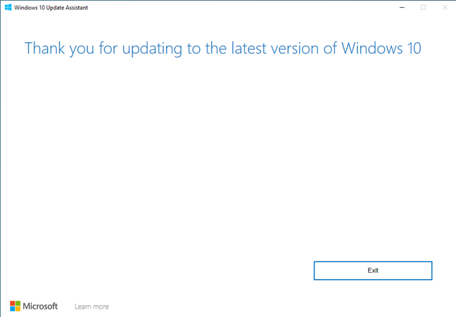 Windows 10 Update Assistant thanks you for updating your operating system