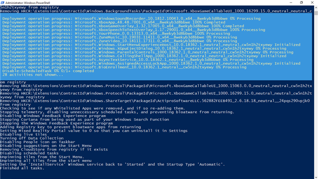 Bloatware removal scripts are running in PowerShell