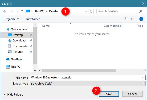 Saving Windows 10 Debloater on a Windows 10 PC