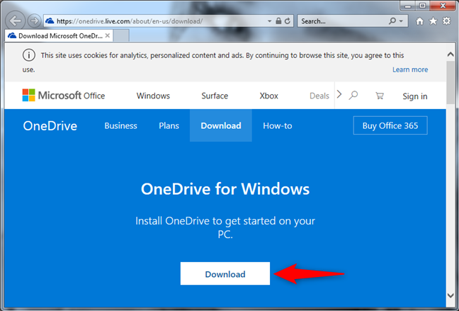 The Microsoft OneDrive download web page