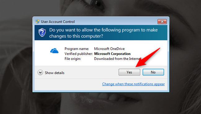 The UAC prompt shown when trying to install OneDrive