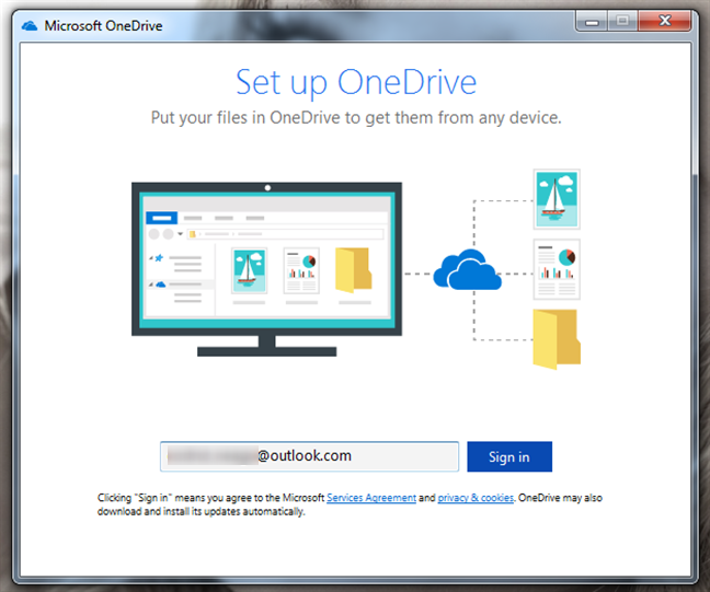 Entering the Microsoft account used with OneDrive