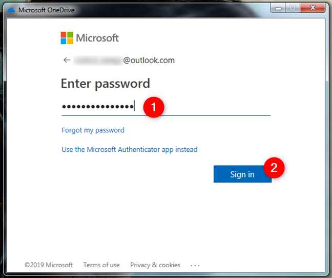 The authentication process for the Microsoft account