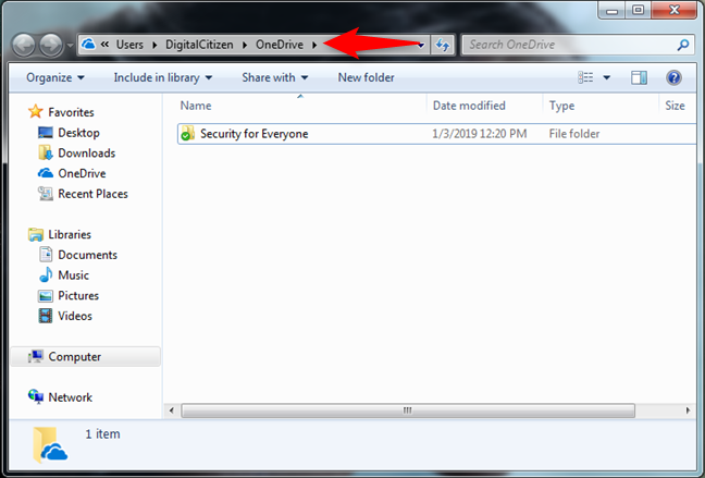 OneDrive in Windows Explorer