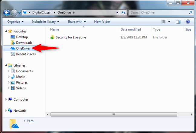 OneDrive in the Favorites list from Windows Explorer