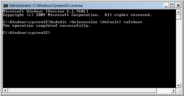 Enable the standard Windows 7 boot in the Command Prompt