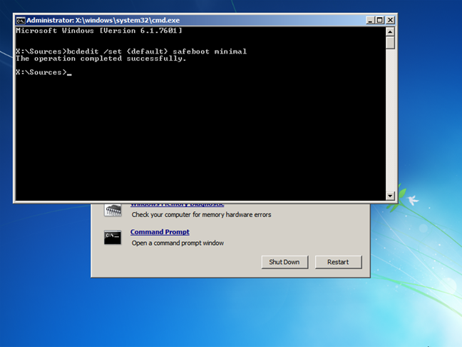 Activate Windows 7 Safe Mode from the Command Prompt