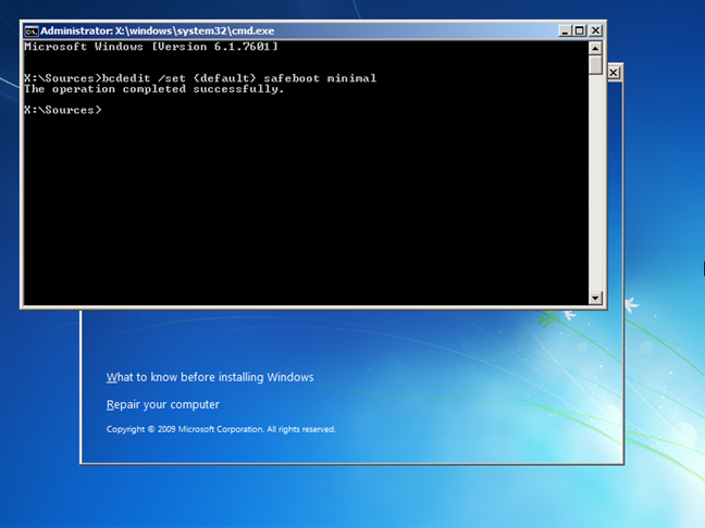Activate Safe Mode from the Command Prompt