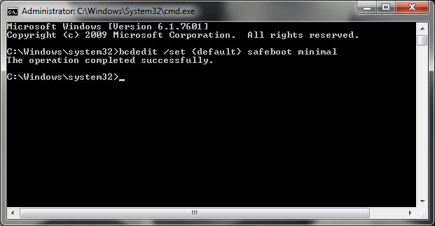 Enable the Safe Boot in the Command Prompt