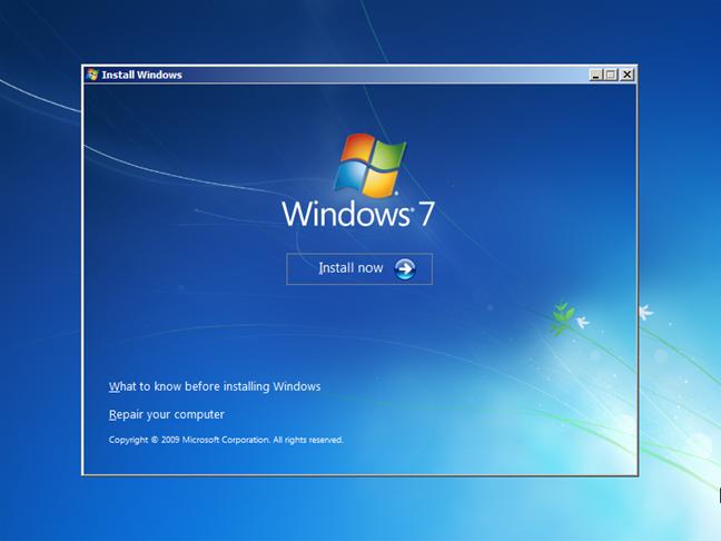 The Windows 7 installation